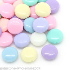 Wholesale W09 Candy Color Acrylic Spacer Beads Oblate Mixed 12x5mm