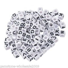 Wholesale Lots Mixed Alphabet  Letters Acrylic Cube Beads 7x7mm