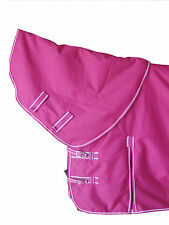MEDIUM WEIGHT HORSE TURNOUT RUG RASPBERRY COLOR DETACHABLE NECK RIP-STOP FABRIC