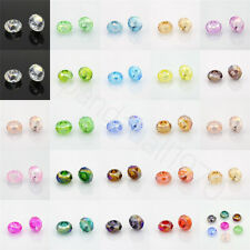 10pc AB Color Plated Electroplate Faceted Glass Large Hole Rondelle Beads 14x8mm