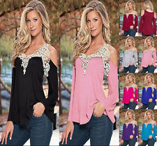 Summer Women Loose Casual Long Sleeve Sexy Lace T-Shirt Blouse Tops plus size