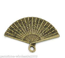Wholesale Lots Bronze Tone Hand Fan Charm Pendants 24x17mm