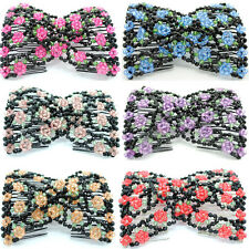 HOT Womens Easy Magic Beads Double Hair Grip Comb Clip Stretchy Hairpins Combs