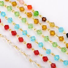 "5pcs 39.3"" Eyepins Bicone Glass Beads Chains for Neckalces Bracelets Making A39"