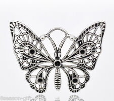 Gift Wholesale Silver Tone Butterfly Charm Pendants 48x36mm