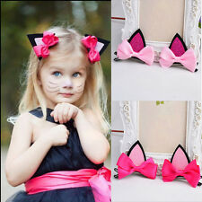 1 Pair Fashion Kids Baby Girls Cat Ears Hairpins Bow  Hair Clip Party Dress EF