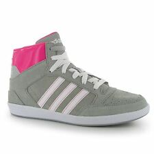 Adidas Suede Hi Tops Casual Trainers Womens Grey/White/Pink Sneakers Shoes