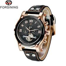 FORSINING Automatic Mechanical Date Day Month Display Leather Mens Watch R0W4