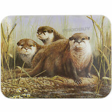 30cm x 22cm Glass Kitchen Worktop Saver Protector Trivet Otters Chopping Board