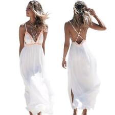 Women Lady Spaghetti Strap Maxi Beach Dress Summer Beach Maxi Long Dress K7M6
