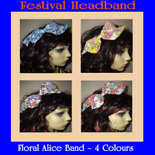 Flower Headband, floral Alice band, flower bow, festival headband multi coloured