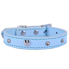 Fashion Leather Dog Collar Crystal Studded Heart Shaped Accessories Pet Supplies