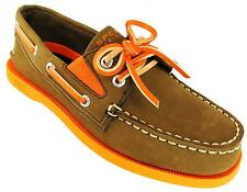 Sperry A/o Gore Boys Brown And Orange Slip On Elasticated Leather Boat Shoes New