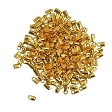 100 Packs of Brass Crimp End Bead Findings Jewelry Chain DIY 7x3.8mm-Gold/Silver