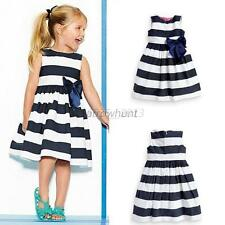 Toddler Baby Girls Striped Bow One Piece Skirts Dress Zipper Tutu Dress Sundress