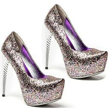 Lady Couture Glitter Almond toe Pump High Heel Curved Heels Women's shoes