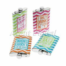 9 oz Stainless Steel Hip Flask Drink Liquor Whiskey Alcohol Flagon Colourful
