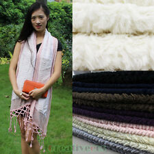 Fashion Women's Charm Velvet Wool Mesh Stitching Lace Trim Long Scarf Shawl Wrap