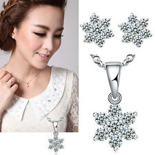 Charm Top Fashion Crystal Necklace Pendant / Earrings Studs Silver Plated Hot t