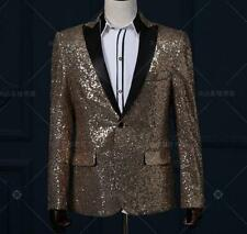 Fashion Mens Slim Fit One Button Lapel Coat Sequins Formal Dress Suit Blazer