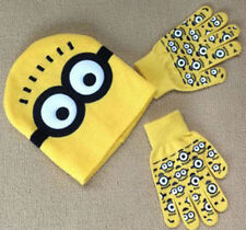 "NEW Despicable Me ""MINION"" Winter Beanie Hat and Gloves Set Yellow 3-12 Years AA"