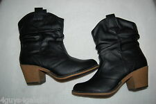 "Womens Mid-Calf Boots BLACK FAUX LEATHER 2.5"" High Heel DRESS Western 6 7 8 9 10"