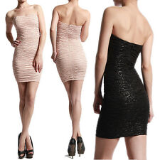 MOGAN Strapless Curve Fitting Bodycon Textured Knit Mini Dress Cocktail Clubwear