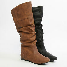 MOGAN Slouch KNEE LENGTH BOOTS Western Faux Leather Mid Calf Pull On Flat Shoes