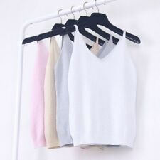 Summer Women Camisole Slim Bruiser Crop Top Glittering Knitted Stretch Tank Vest