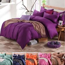 100% Cotton Solid  Bed Doona Pillowcases Duvet Quilt Cover Set