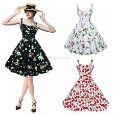 1950s Retro Audrey Hepburn Housewife Swing Rockabilly Pinup Cherry Printed Dress