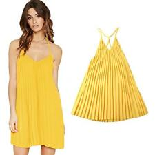 Women Pleated Party Clubwear Backless Dress Halter Sexy Beach Summer Dress C0G9