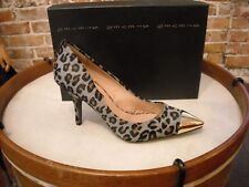 Steve Madden Fearless Gray Leopard Haircalf Gold Captoe Pumps NEW