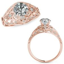 1 Carat G-H Diamond Fancy Designer Halo Wedding Women Ring 14K Rose Gold