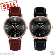 Luxury Mens Watches Crocodile Faux Leather Stainless steel Analog Watch Wrist UK