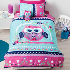 Pretty Owl Girls Applique Reversible Quilt Doona Duvet Cover Set - SINGLE DOUBLE