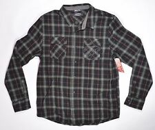 FMF Racing BRADLEY Mens Button Front Flannel Shirt Large Black Grey Plaid NEW