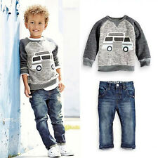 NWT Baby Kids Boys Gray Long Sleeve Soft T-Shirt + Long Jeans Denim Pants Outfit