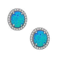 La Preciosa Sterling Silver Created Opal and Cubic Zirconia Oval Stud Earrings
