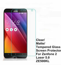 """Clear/Matte/Tempered Glass Screen Protector For ASUS ZenFone 2 Laser 5.0"""" ZE500K"""