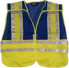 NEW ERB BLUE Safety Vests 3 pockets with Lime/Silver Reflective Stripes