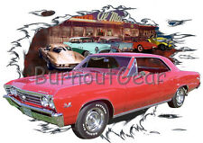 1967 Red Chevy Chevelle SS Super Sport Hot Rod Diner T-Shirt 67, Muscle Car Tee
