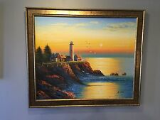 OIL ON CANVAS PAINTING BEAUTIFUL SEASCAPE LIGHTHOUSE SUNSET - SIGNED