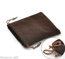 Gift Wholesale Coffee Velveteen Pouch Jewelry Bags With Drawstring 12x10cm