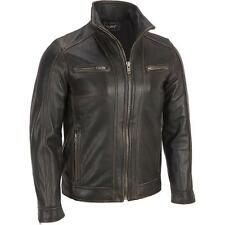 Black Rivet Mens Leather Faded-Seam Cycle Jacket