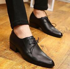 Black leather Oxford Dress Shoes Pointed Toe Mens Cuban Heels Formal Shoes new
