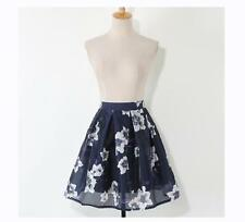 Summer Women's Floral Pattern Blue Organza Two-layer Skirt Mini Pleated Skirt