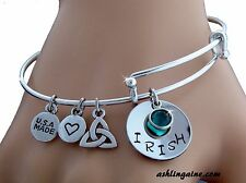 "Hand Stamped ""Irish & Proud of It!"" Adjustable Charm Bangle Bracelet w/Initial"