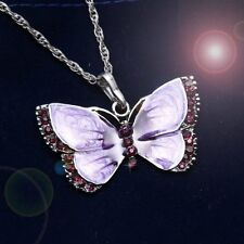 Shining Women's Butterfly Necklace Pendant Long Chain Inlay Crystal Birthstone