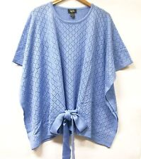 Hot in Hollywood Soft Pointelle Knit Poncho BLUE One Size Womens NEW